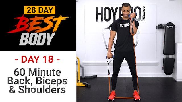 60 Minute Back, Biceps & Shoulders Workout - Best Body #18