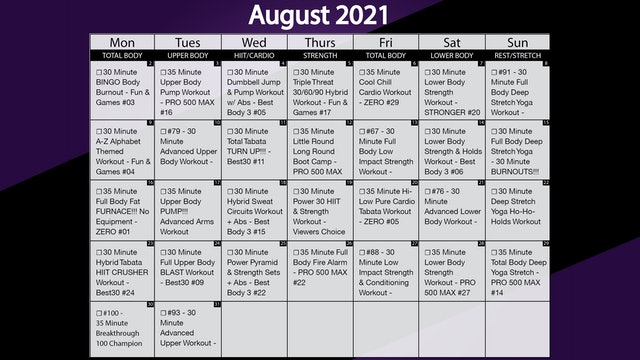 August 2021 Workout Calendar