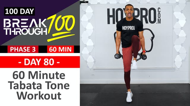 #80 - 60 Minute Light Weight Tabata Toning + Abs Workout - Breakthrough100
