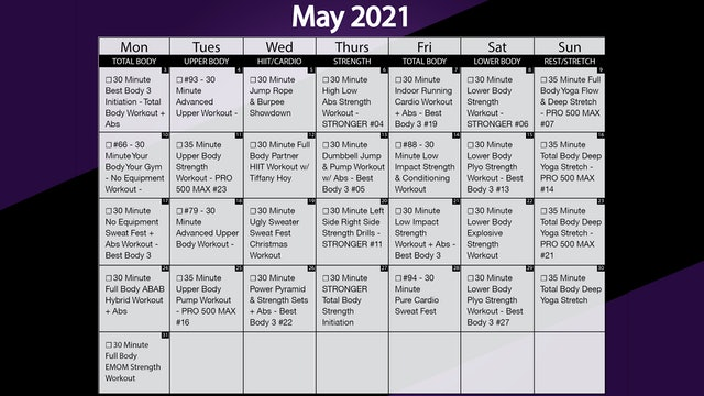 May 2021 Workout Calendar