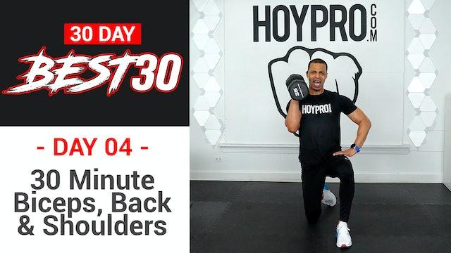 30 Minute Back Biceps & Shoulders Upper Body Workout - Best30 #04