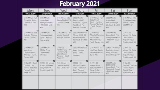 February 2021 Workout Playlist & Calendar