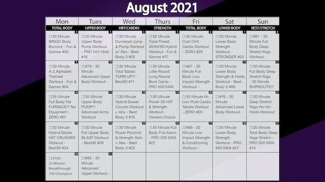 August 2021 Workout Playlist & Calendar