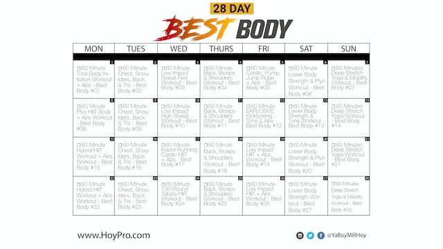 28 Day Best Body Workout Calendar