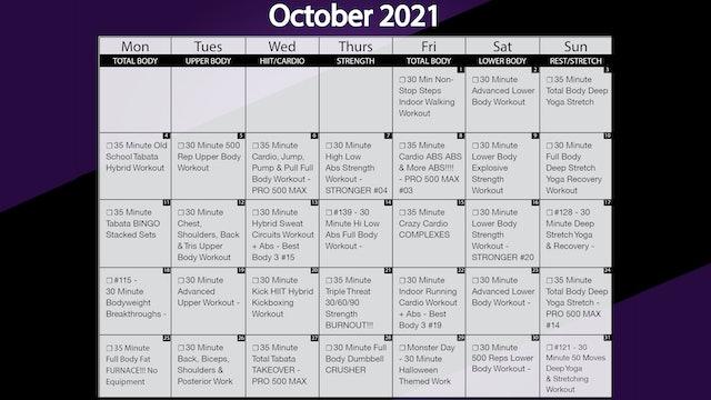 October 2021 Workout Playlist & Calendar