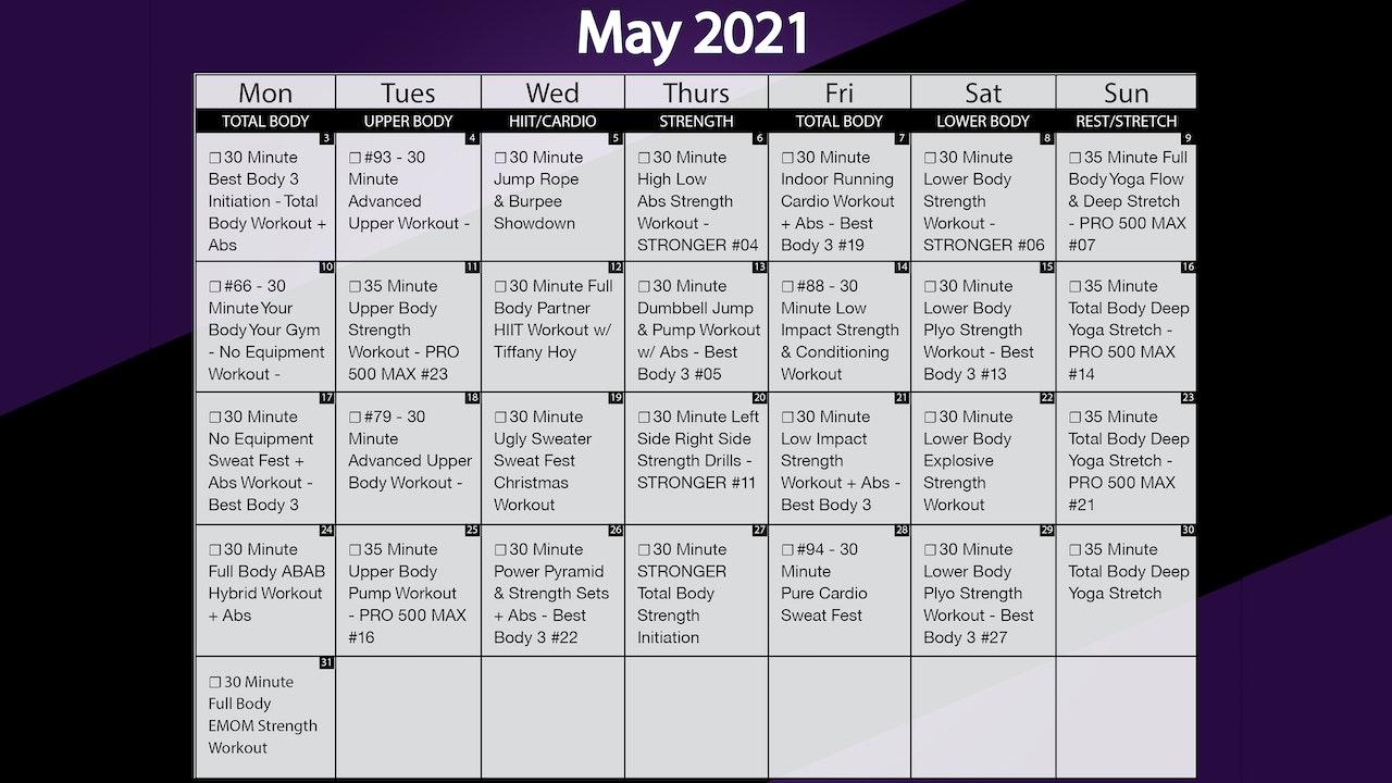 May 2021 Workout Playlist & Calendar