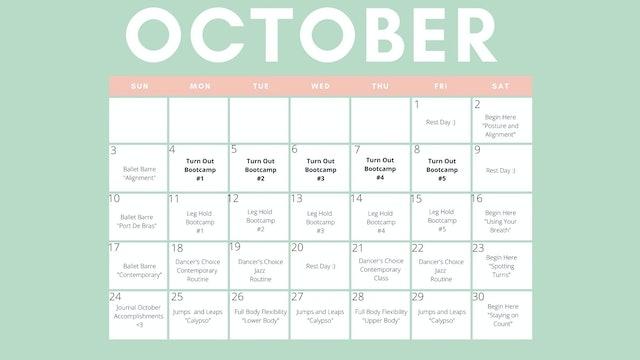 Ti & Me - October Calendar (Downloadable)