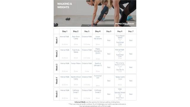 Walking & Weights Calendar