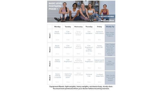 Basic Postnatal Calendar (clickable & printable)