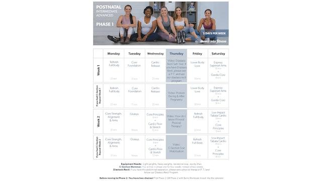 Intermediate/Advanced Postnatal Calendar (clickable & printable)