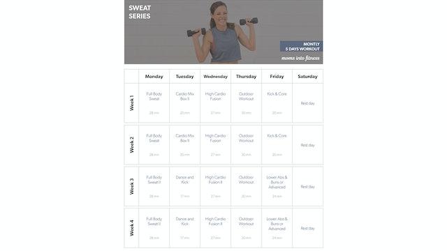 3 Days per Week SWEAT Calendar