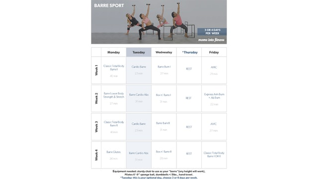 Barre Sport Calendar 3 Days per Week