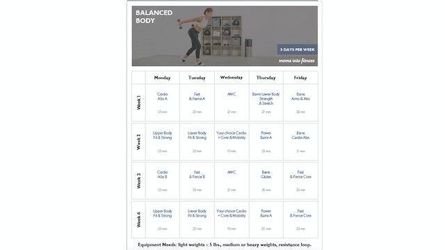 Balanced Body Calendar 5 Days per Week