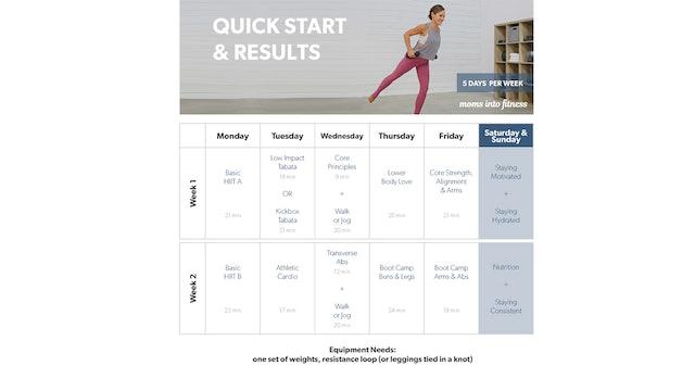 Quick Start Calendar (clickable & printable)