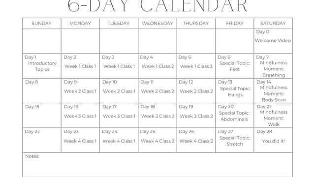 6-Day Calendar