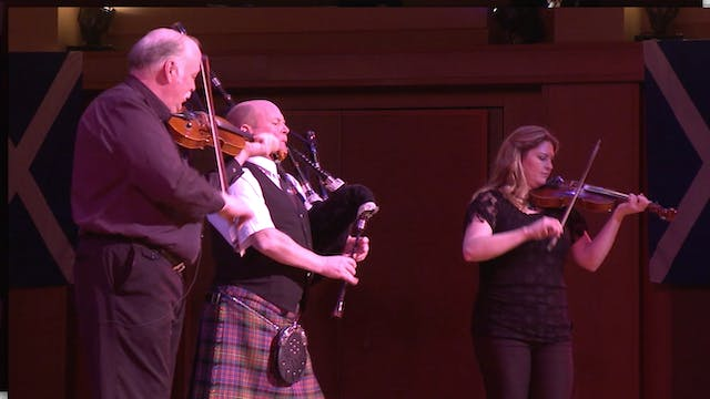 Alasdair Gillies with Fiddlers Jerry Holland & Andrea Beaton