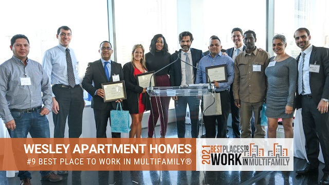 #9 Best Places to Work Multifamily® 2021 - Wesley Apartment Homes