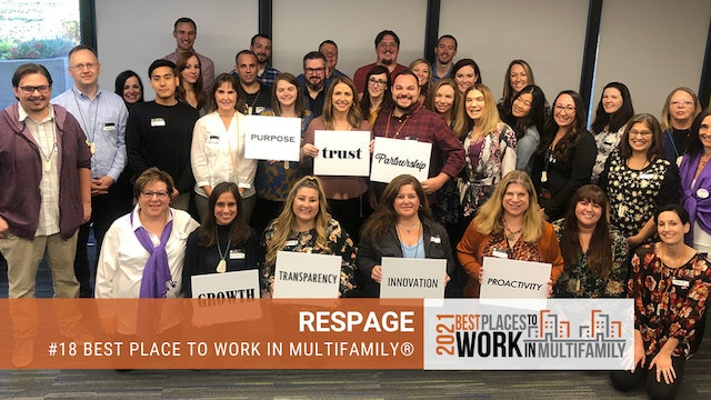 #18 Best Places to Work Multifamily® 2021 - Respage
