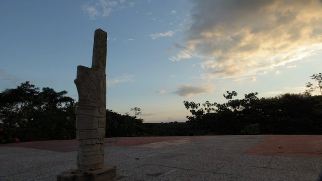 4. (TL) Rain falling On Lens, Sacred Site with Statue, Evening to Night