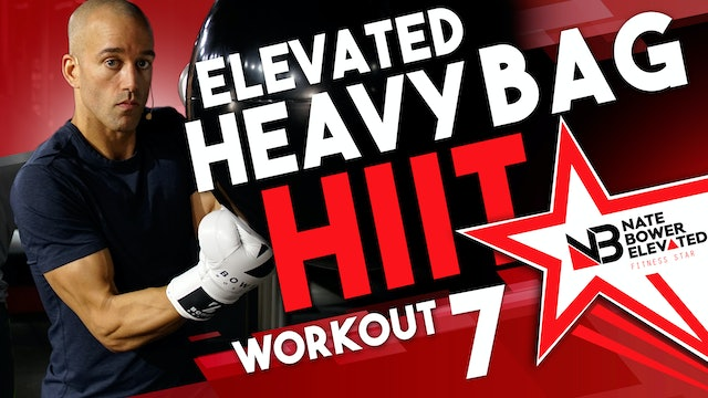 Elevated Heavy Bag HIIT Workout 7 - No music