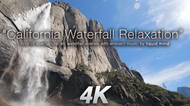 California Waterfall Relaxation w MUSIC 1 HR Dynamic Video