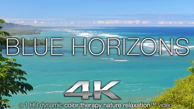 Blue Horizons (Music Only) 1 Hr Dynamic Color Therapy Relaxation Video