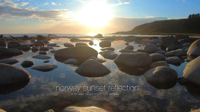 Norway Sunset Reflection 1 Hour Static Scene in 4K + 528hz Music