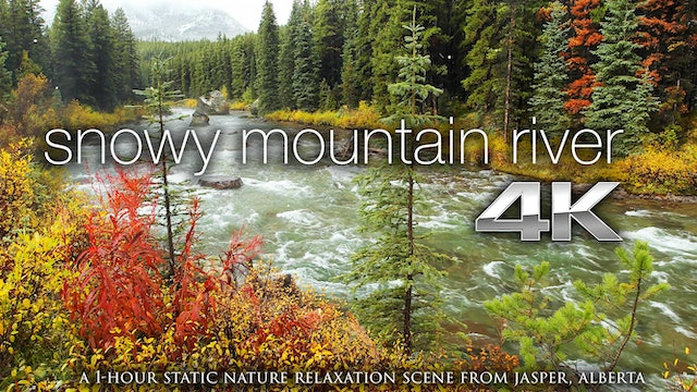 Snowy Mountain River 1 HR Static Nature Relaxation Video