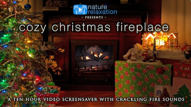 Cozy Christmas Fireplace 2HR Static Scene w Sounds