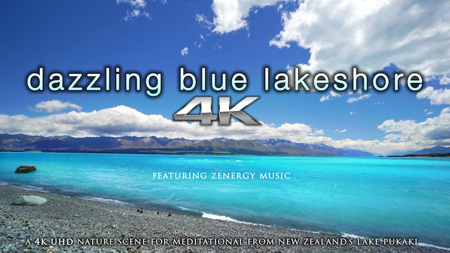 Dazzling Blue Lakeshore (+Music) 1 HR Static New Zealand Video - Lake Pukaki