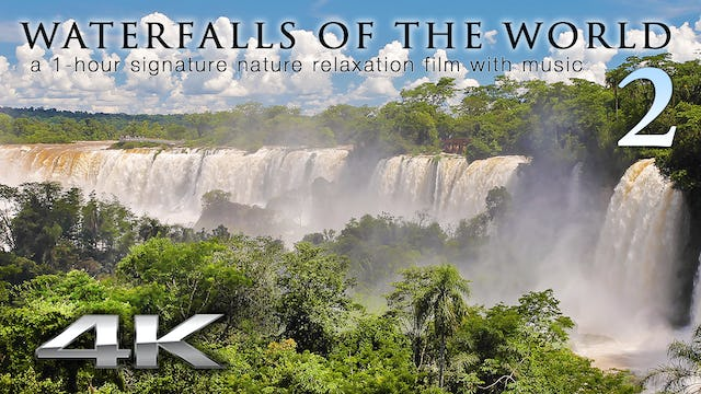 Waterfalls of the World 2 w Music 1HR Nature Relaxation