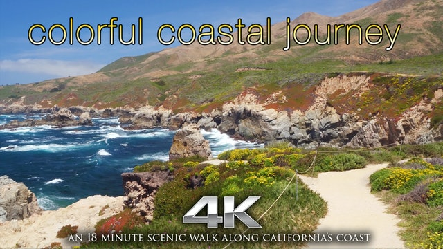Colorful Coastal Journey (+Music) 4K Virtual Hike & Flight - California Coast