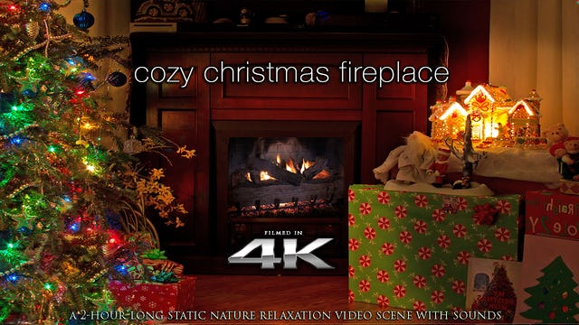 Cozy Christmas Fireplace 4K 2 HRs Static Nature Relaxation