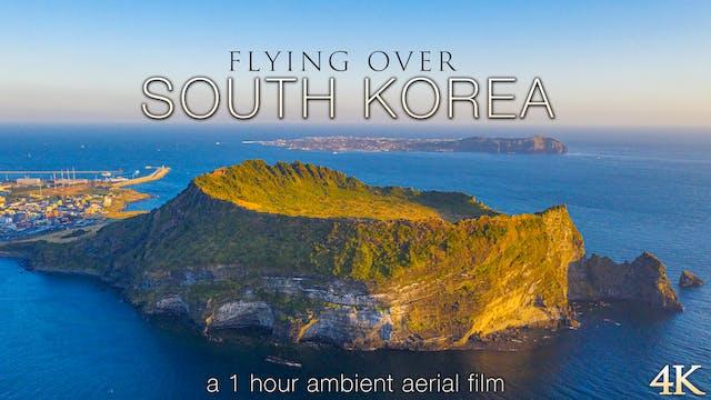 Flying Over South Korea 4K 1 Hour Aer...