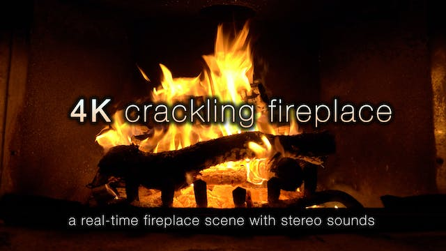 4K Crackling Fireplace - 4 Hour Stati...