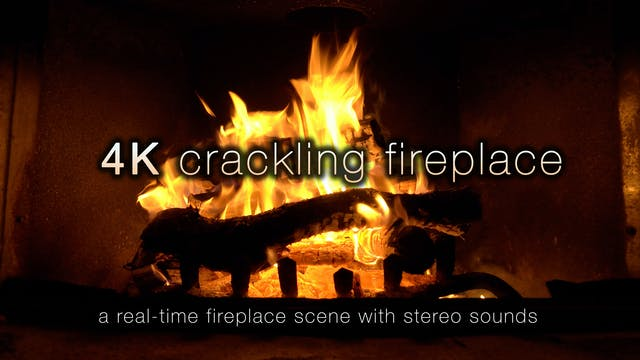 4K Crackling Fireplace - 4 Hour Stati...