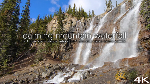 Calming Mountain Waterfall 1HR Static Nature Scene in 4K - Jasper, Alberta