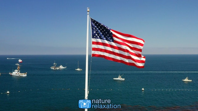 Old Glory Flying 1 Hour 4K Static Nature Scene + Sounds - Catalina Island Flag