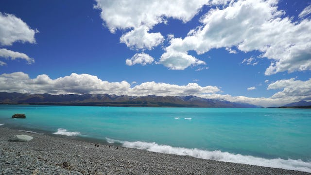 Dazzling Blue Lakeshore 1 HR Static Nature Scene from New Zealand
