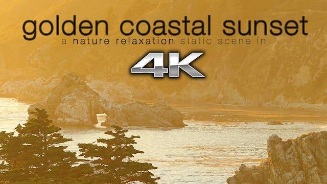 Golden Coastal Sunset 1HR Static Nature Scene - 4K