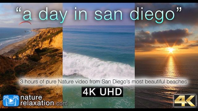 A Day in San Diego (Nature Sounds) 3 HR Nature Relaxation Video