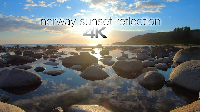 Norway Sunset Reflection 1 Hour Static Scene in 4K + 528hz Music