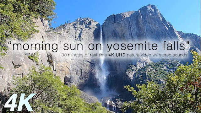 Morning Sun Hitting Yosemite Falls 30 Min Static Video