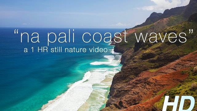 Napali Coast Waves 1 HR Static Nature Video