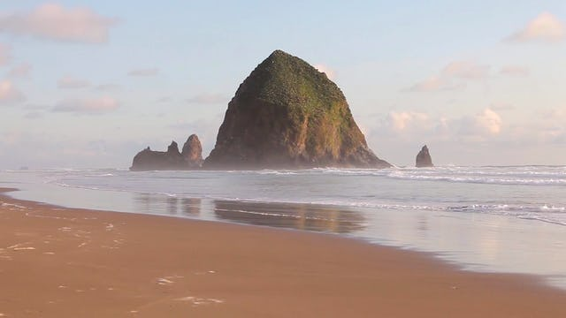 Cannon Beach Sunset Waves 1 Hr Static Nature Scene