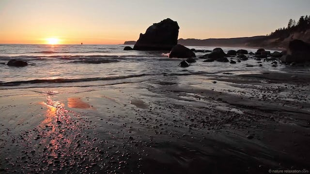 Ruby Beach Sunset - 1 HR Static Nature Video