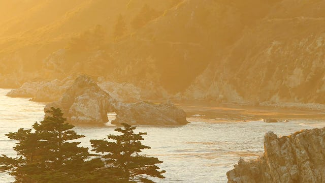 Golden Coastal Sunset 1 Hour Static Nature Relaxation Video 4K