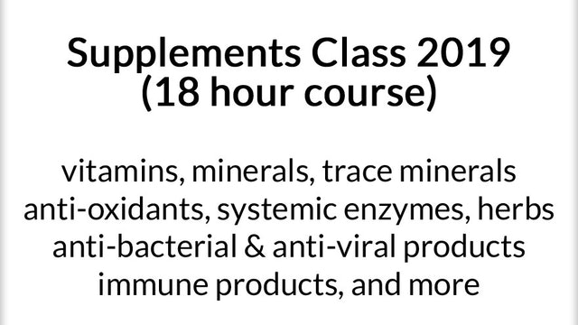 Nutritional Supplements Class (18 hour course)