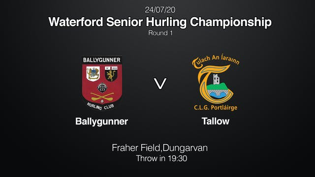 WATERFORD SHC Ballygunner v Tallow