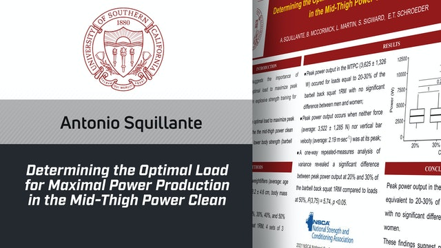 Antonio Squillante - Optimal Load for Max Power Prod. in Mid-Thigh Power Clean